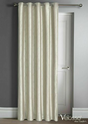 "Embossed Wave Thermal Light Reducing Ring Top Eyelet One Door Curtain Panel, 46"" X 84"" Cream"